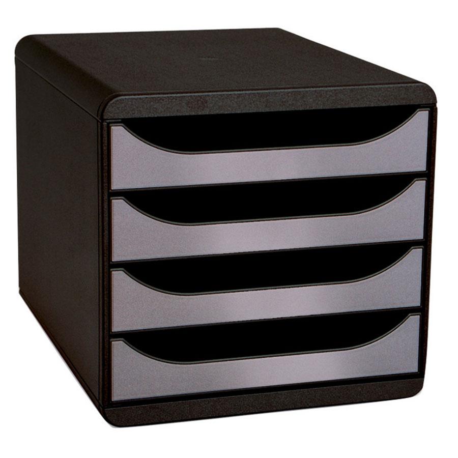 exacompta big box 4 tiroirs noir argent module de classement exacompta sur. Black Bedroom Furniture Sets. Home Design Ideas