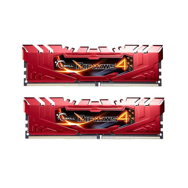 Mémoire PC G.Skill RipJaws 4 Series Rouge 16 Go (2x 8 Go) DDR4 2800 MHz CL16 Kit Dual Channel 2 barrettes de RAM DDR4 PC4-22400 - F4-2800C16D-16GRR (garantie 10 ans par G.Skill)