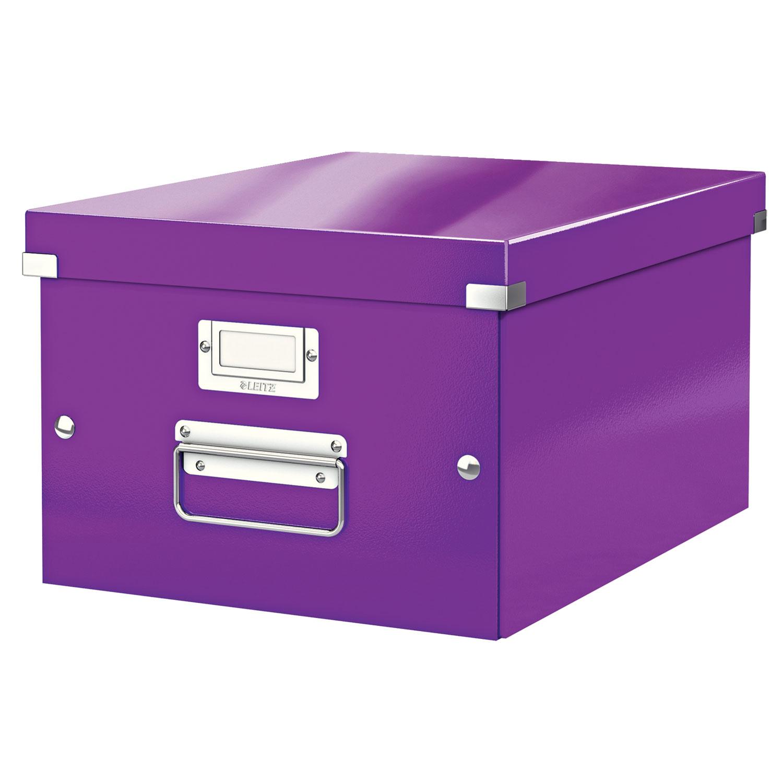 leitz click store boite de rangement moyen format 16 7 litres violet bo te de rangement. Black Bedroom Furniture Sets. Home Design Ideas