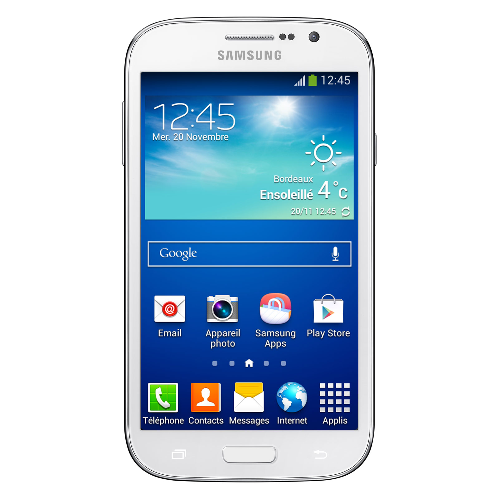 samsung galaxy grand plus gt i960i blanc mobile smartphone samsung sur. Black Bedroom Furniture Sets. Home Design Ideas