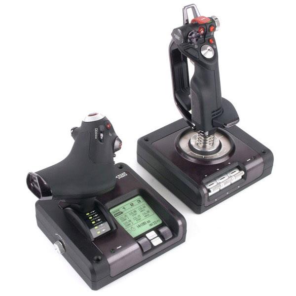 Joystick Logitech G Saitek X52 Pro Flight Control System Joystick avec manette des gaz et écran de contrôle pour simulateur de vol
