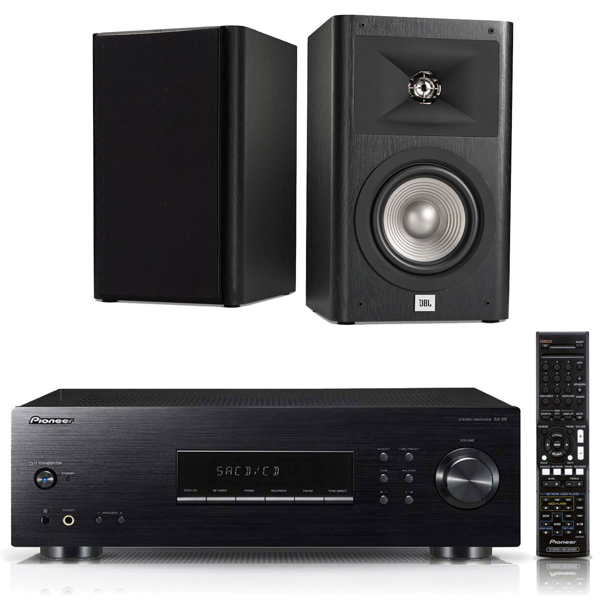 Ensemble Hifi Pioneer SX-20-K + JBL Studio 230 Noir Amplificateur stéréo intégré 2 x 100 W + Enceinte bibliothèque 2 voies 16.5 cm (par paire)