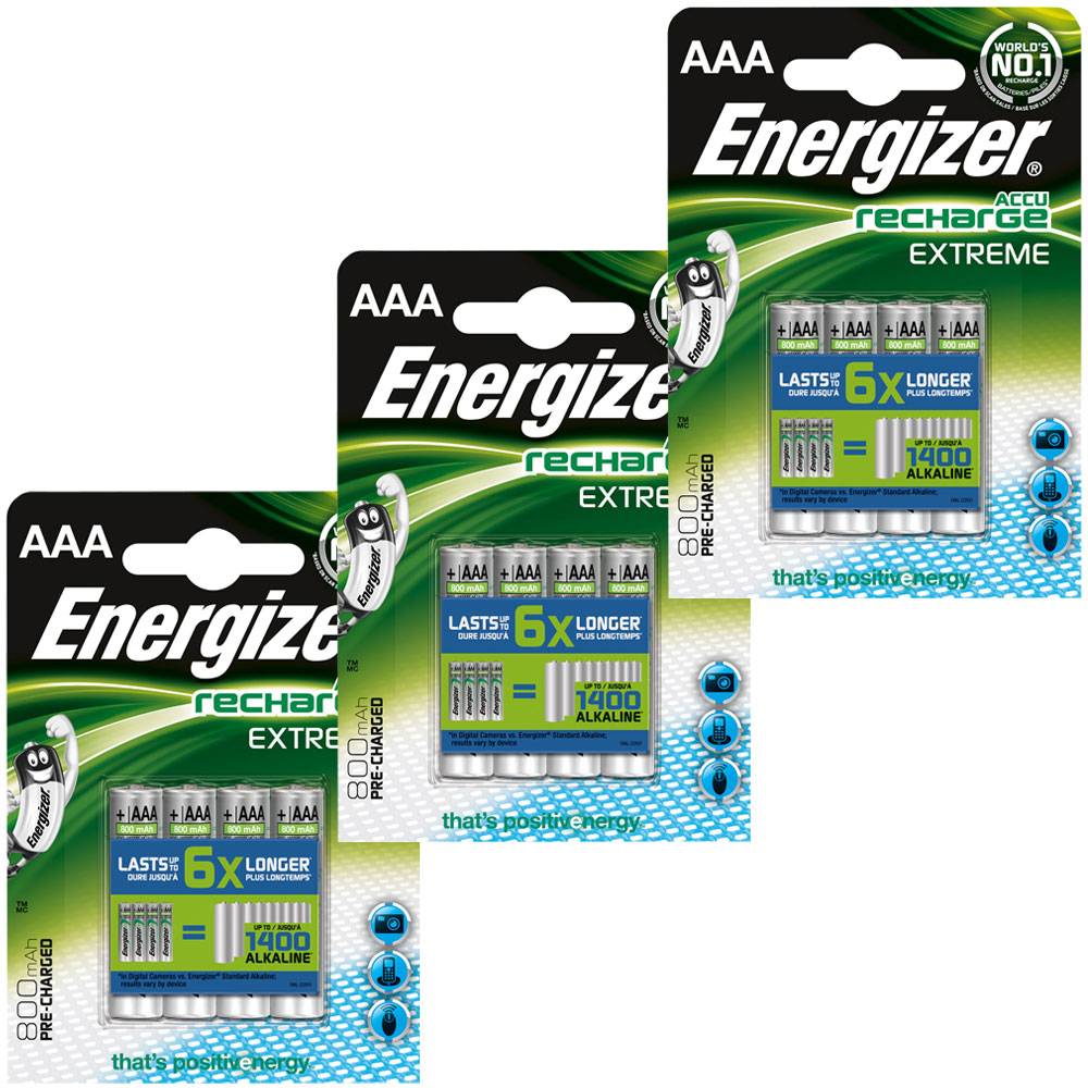 energizer accu recharge extreme aaa 800 mah par 12. Black Bedroom Furniture Sets. Home Design Ideas