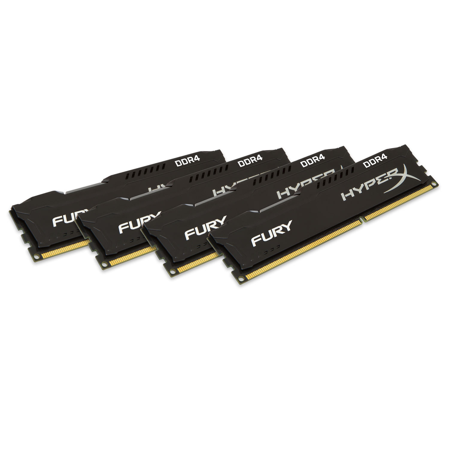 Mémoire PC HyperX Fury Noir 64 Go (4x 16 Go) DDR4 2400 MHz CL15 Kit Quad Channel 4 barrettes de RAM DDR4 PC4-19200 - HX424C15FBK4/64 (garantie 10 ans par Kingston)