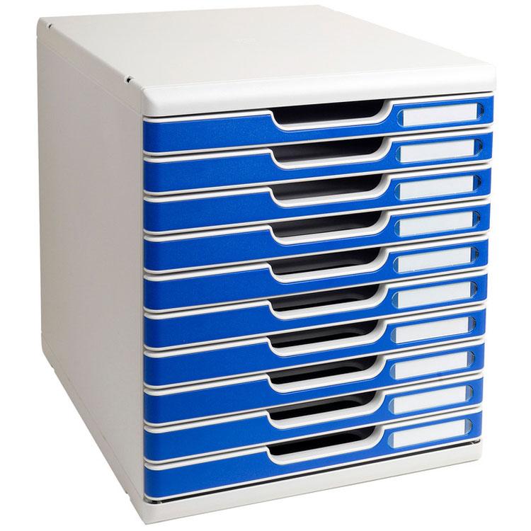 Exacompta modulo 10 tiroirs gris bleu module de for Ladenblok durable varicolor