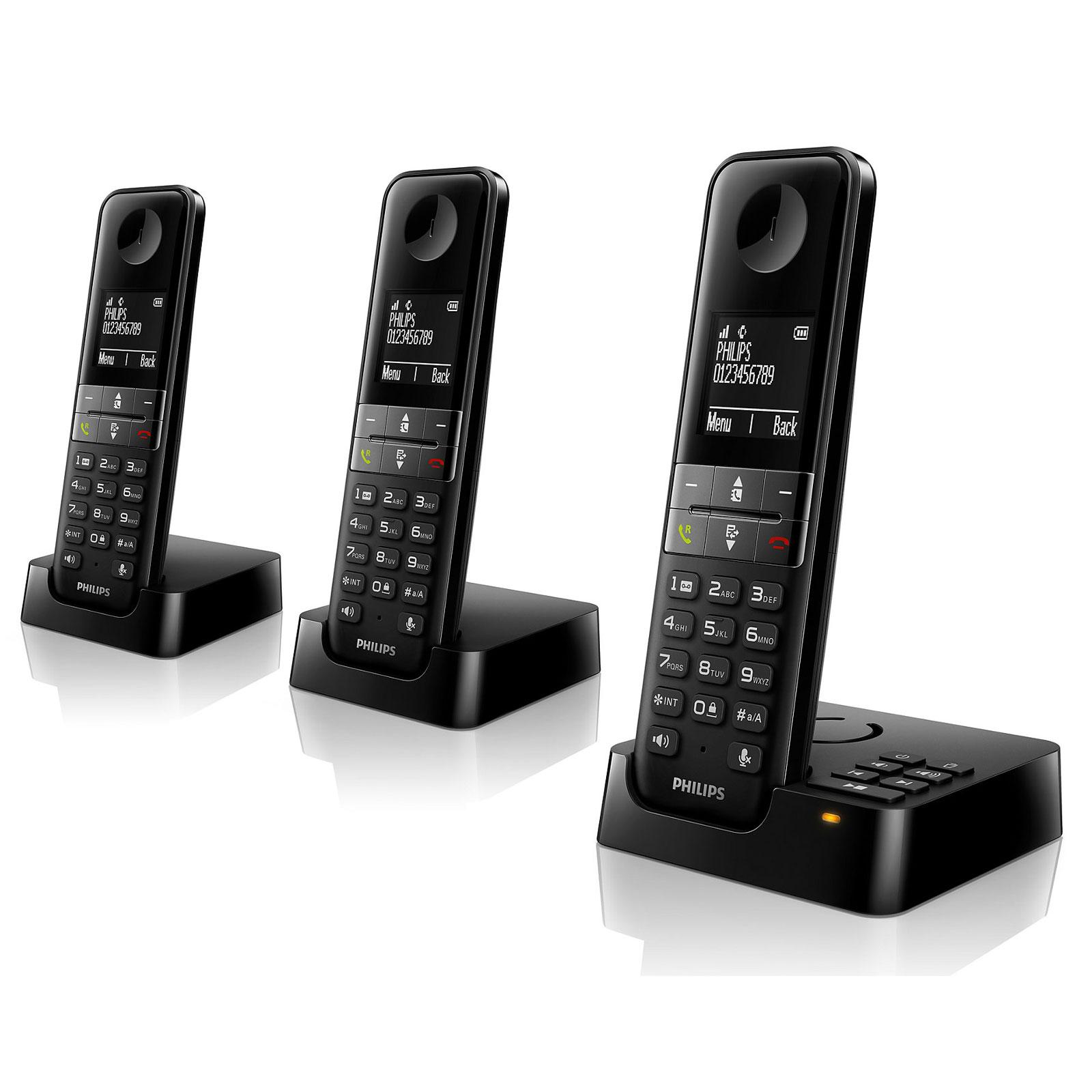 Téléphone sans fil Philips D4553B Noir   Téléphone DECT sans fil avec répondeur et combinés supplémentaires (version française)