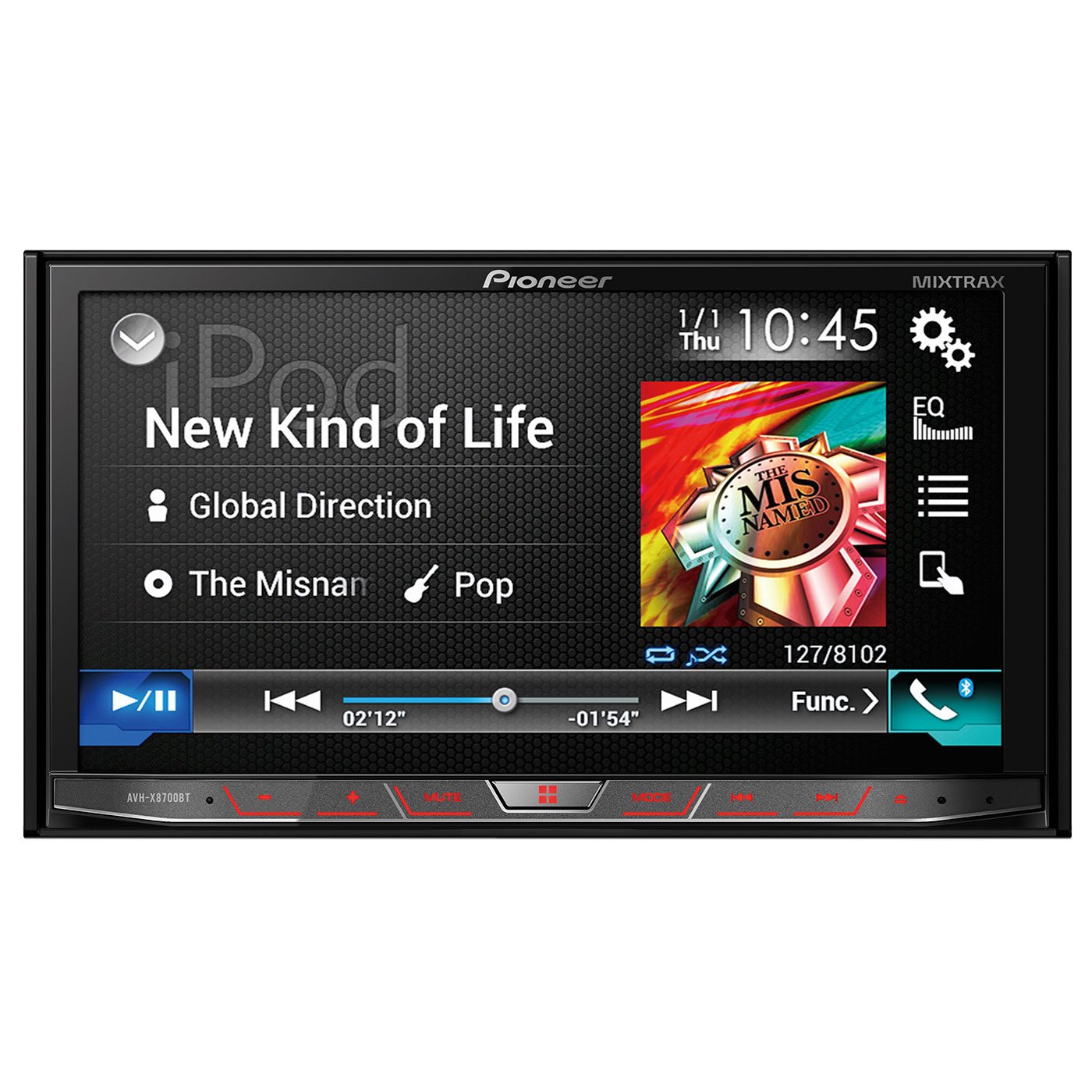 "Autoradio Pioneer AVH-X8700BT Autoradio CD/DVD/DivX MP3 avec écran tactile 7"", contrôle iPod/iPhone, Apple CarPlay, USB, HDMI, Bluetooth, Android Auto, AppRadio et MirrorLink"