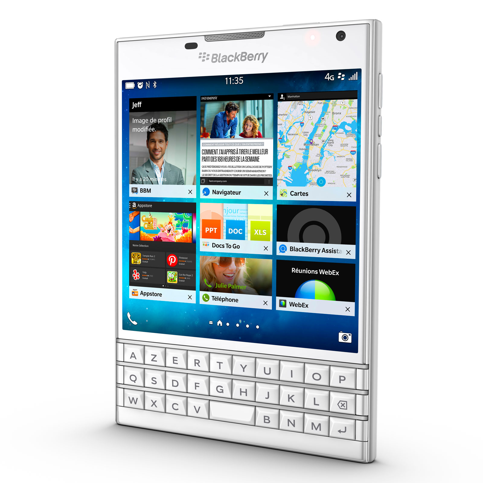 Blackberry passport azerty blanc mobile smartphone for Photo ecran blackberry