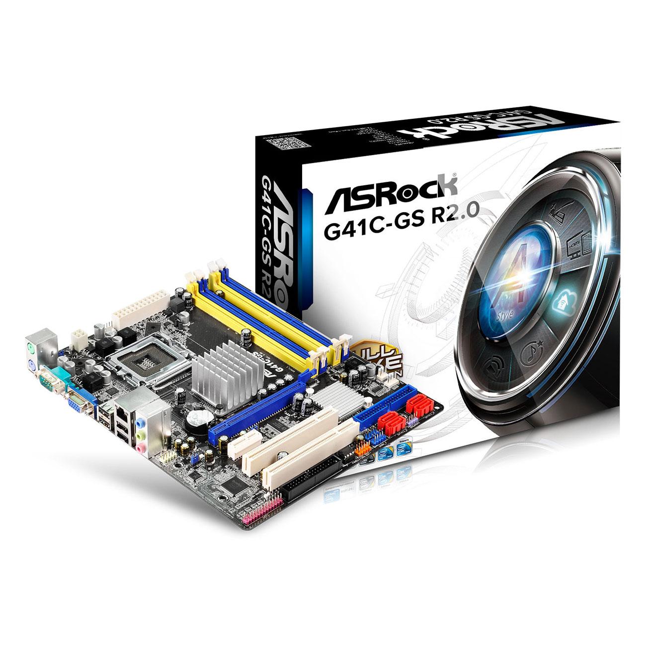 Carte mère ASRock G41C-GS R2.0 Carte mère Micro ATX Intel G41 Express - SATA 3 Gbps - USB 2.0 - 1x PCI-Express 16x