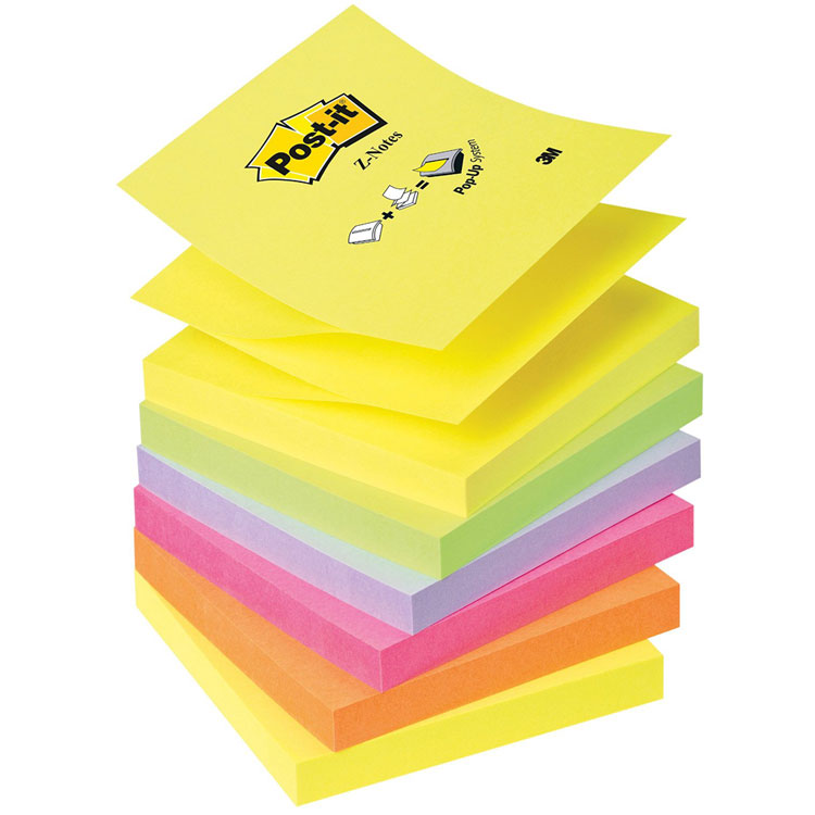 post it bloc z notes 100 feuillets 76 x 76 mm n on assortis x 6 bloc repositionnable post it. Black Bedroom Furniture Sets. Home Design Ideas