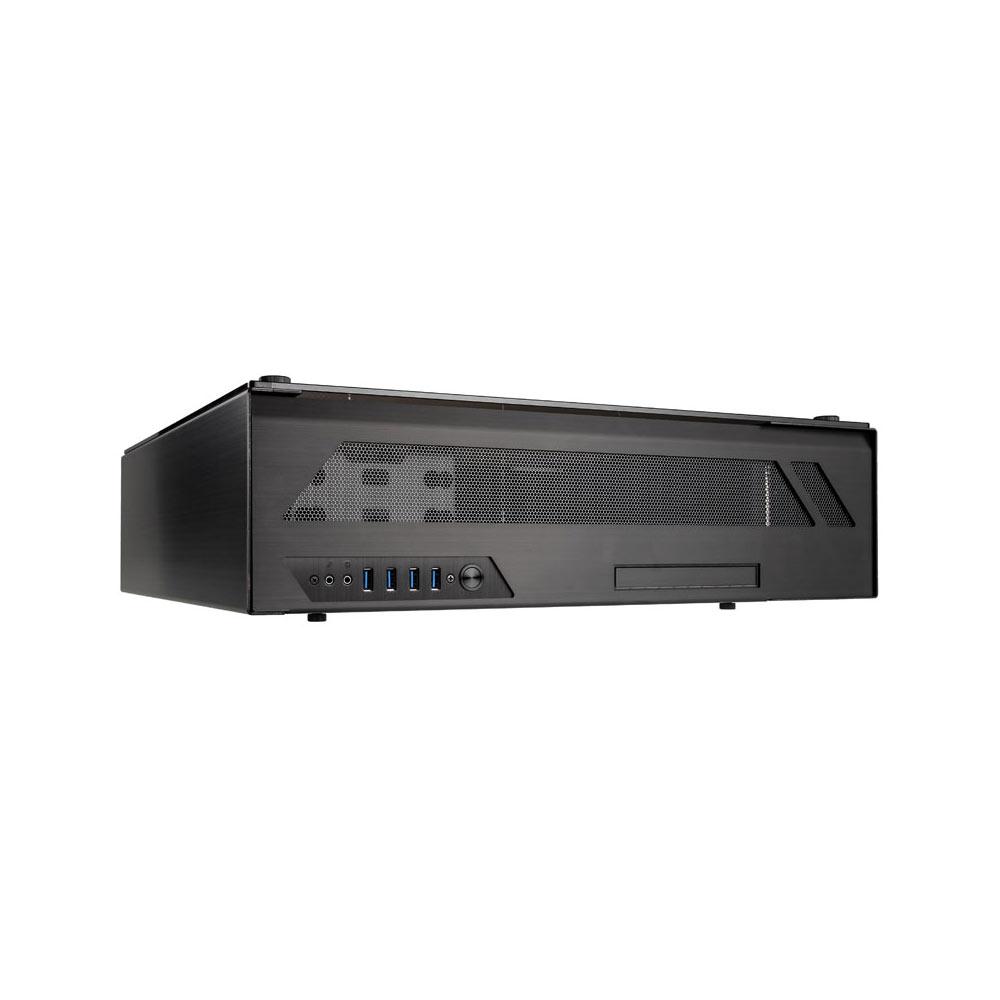 Boîtier PC Lian Li PC-O6SX Boîtier Desktop HTPC en aluminium et verre trempé (coloris noir)