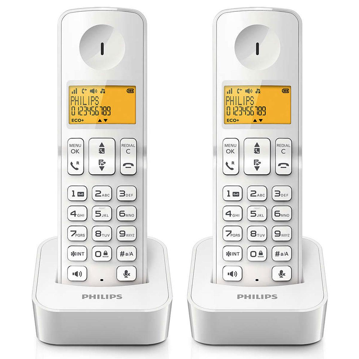 philips d2102w fr blanc t l phone sans fil philips sur. Black Bedroom Furniture Sets. Home Design Ideas
