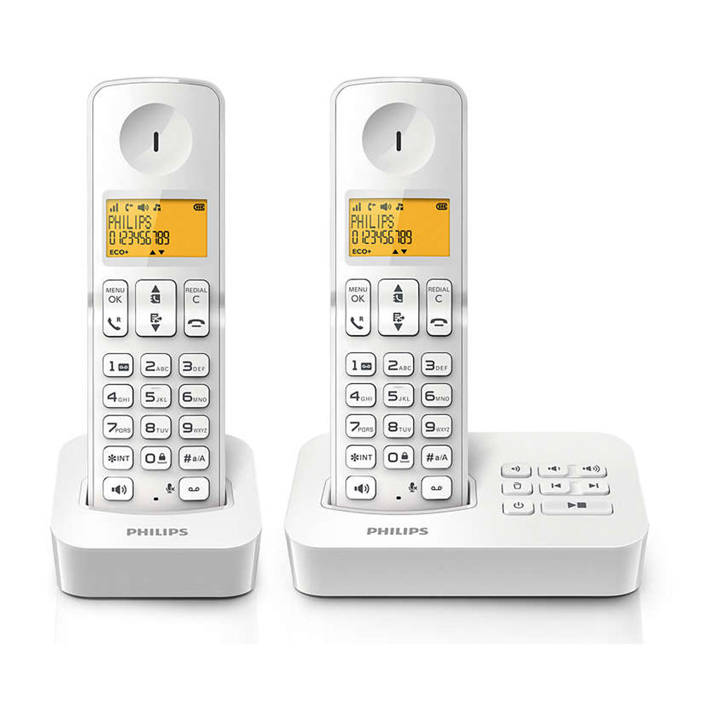 philips d2152w fr duo blanc t l phone sans fil philips. Black Bedroom Furniture Sets. Home Design Ideas