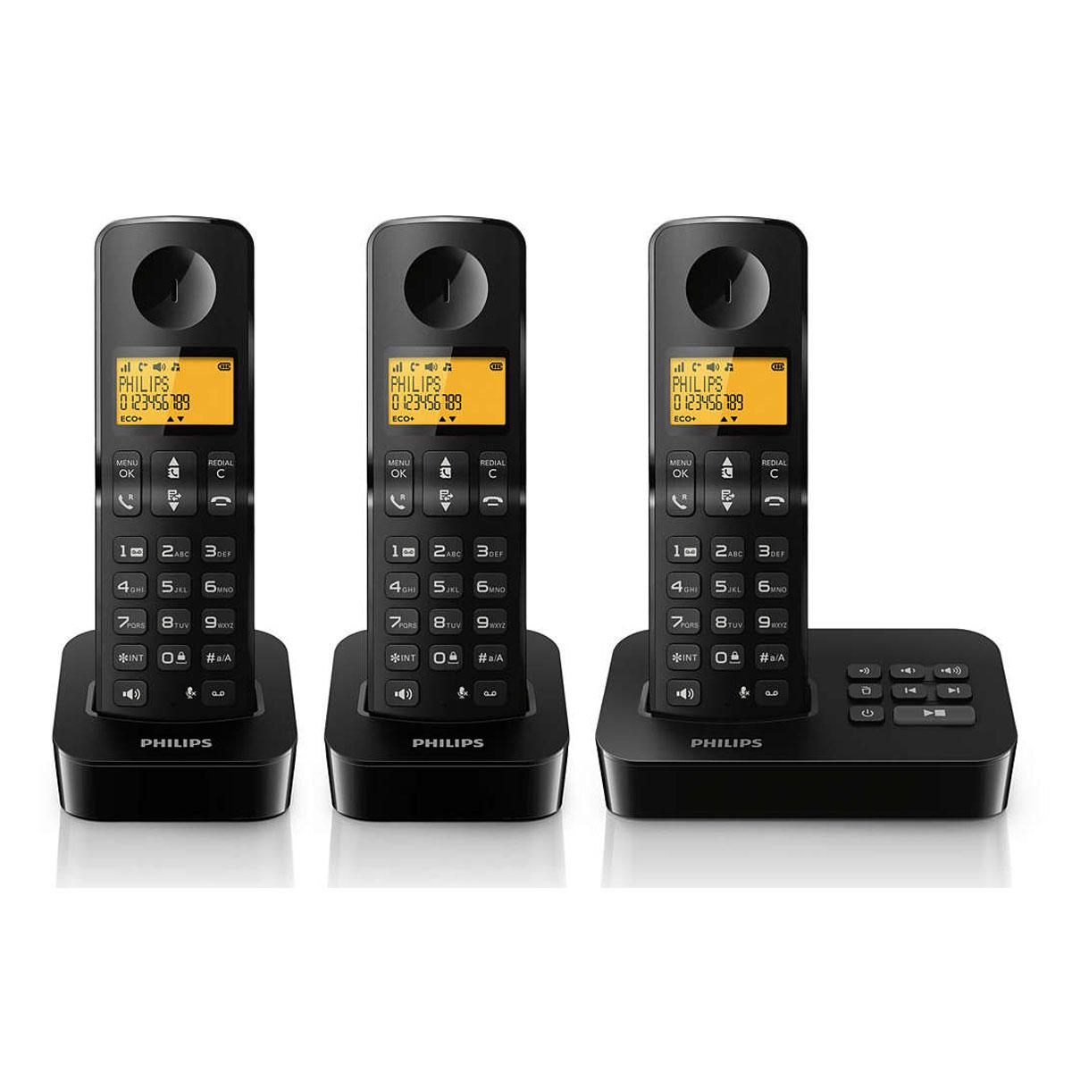 philips d2153b fr trio noir t l phone sans fil philips. Black Bedroom Furniture Sets. Home Design Ideas