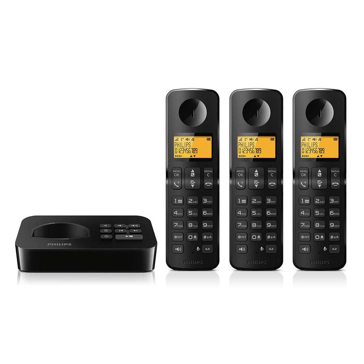 philips d2153b fr trio noir t l phone sans fil philips sur. Black Bedroom Furniture Sets. Home Design Ideas