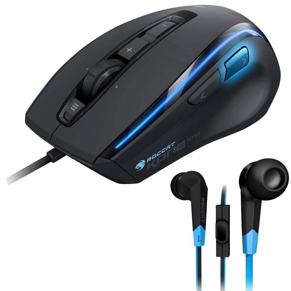 Souris PC ROCCAT Kone XTD + Syva OFFERT ! Souris laser avec écouteurs intra-auriculaires avec microphone pour gamer offerts