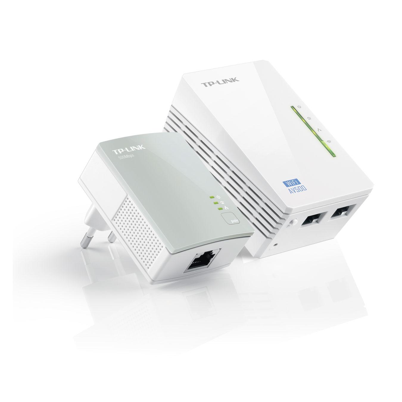 CPL TP-LINK TL-WPA4220KIT Adaptateur CPL 500 Mbps + adaptateur CPL Wi-Fi N 300 Mbps 2 ports