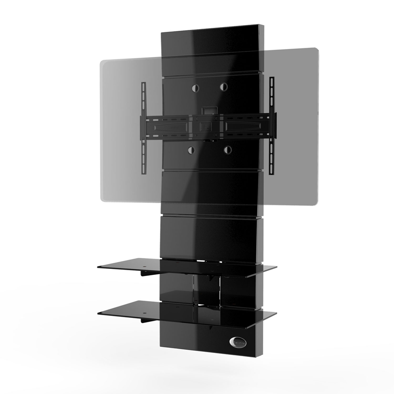 Meliconi ghost design 3000 noir meuble tv meliconi sur for Meuble mural extra plat