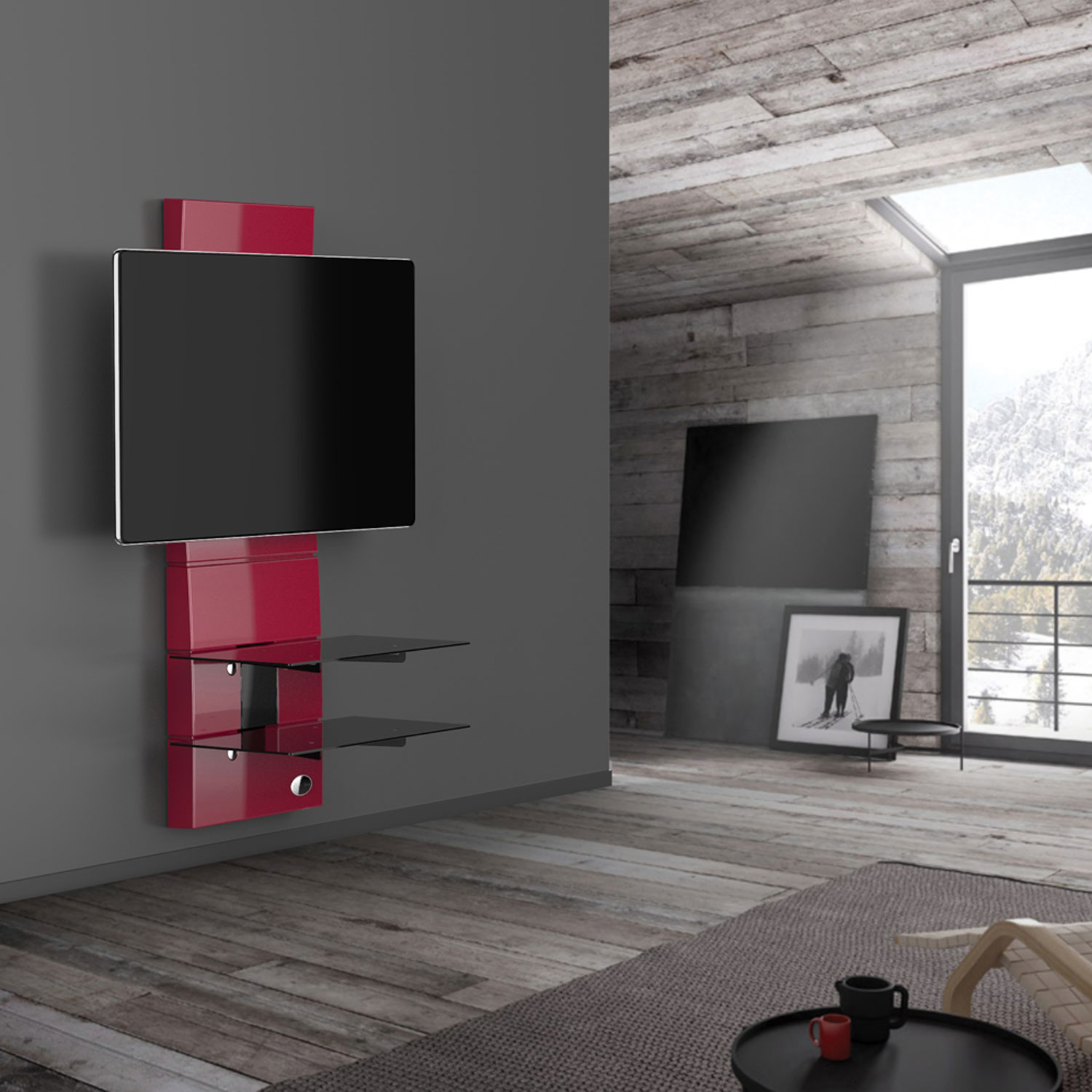 Meliconi ghost design 3000 rouge meuble tv meliconi sur for Meuble tv meliconi