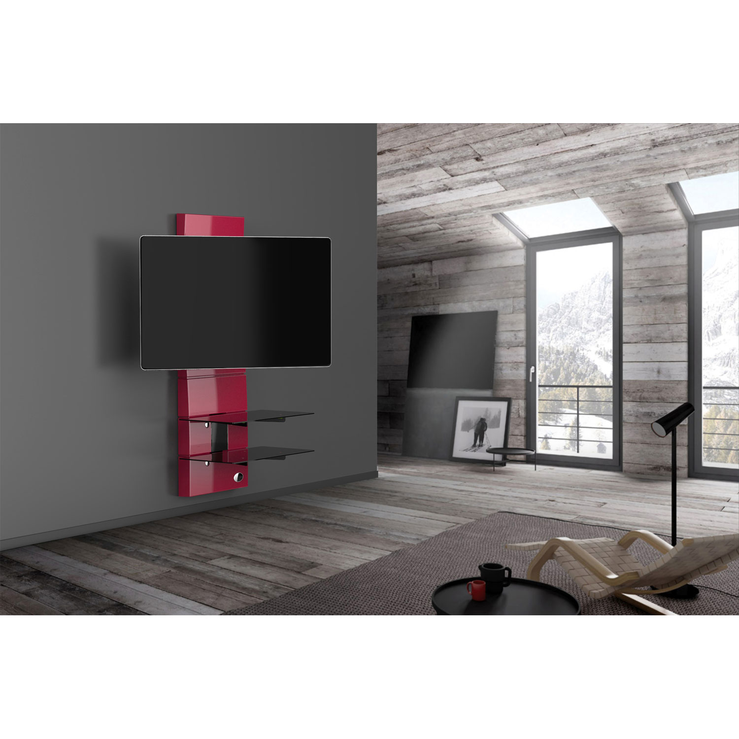 Meliconi Ghost Design 3000 Rotation Rouge Meuble Tv Meliconi Sur  # Meuble Mural Design