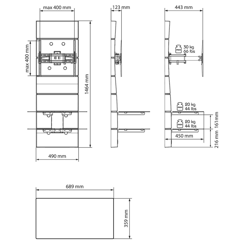 Meliconi Ghost Design 3000 Rotation Noir Meuble Tv Meliconi Sur  # Dimension Meubles Tv Ecran Plat