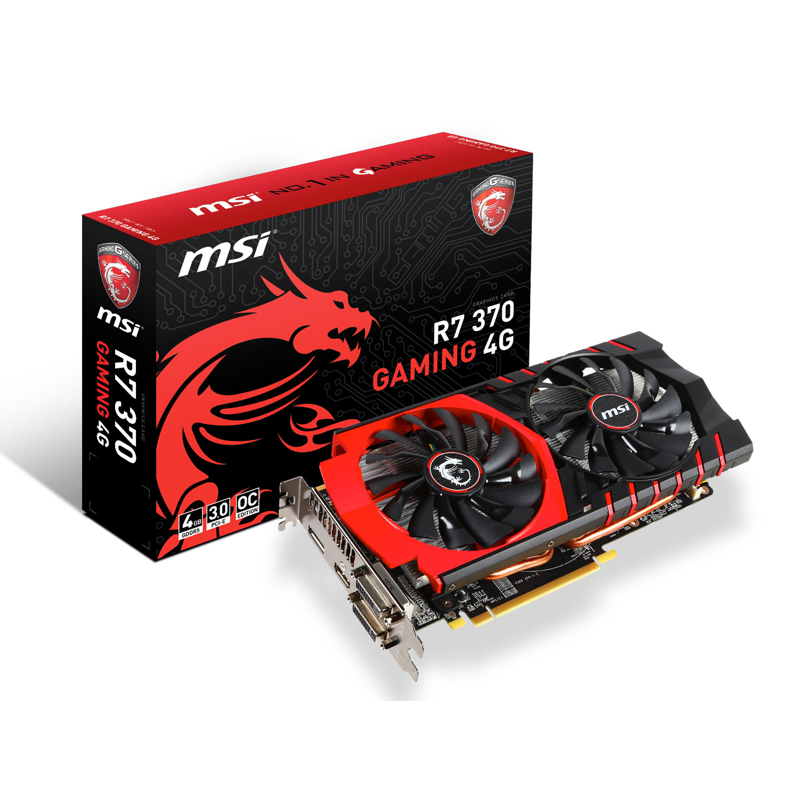 Carte graphique MSI Radeon R7 370 GAMING 4G 4 Go Dual DVI/HDMI/DisplayPort - PCI Express (AMD Radeon R7 370)