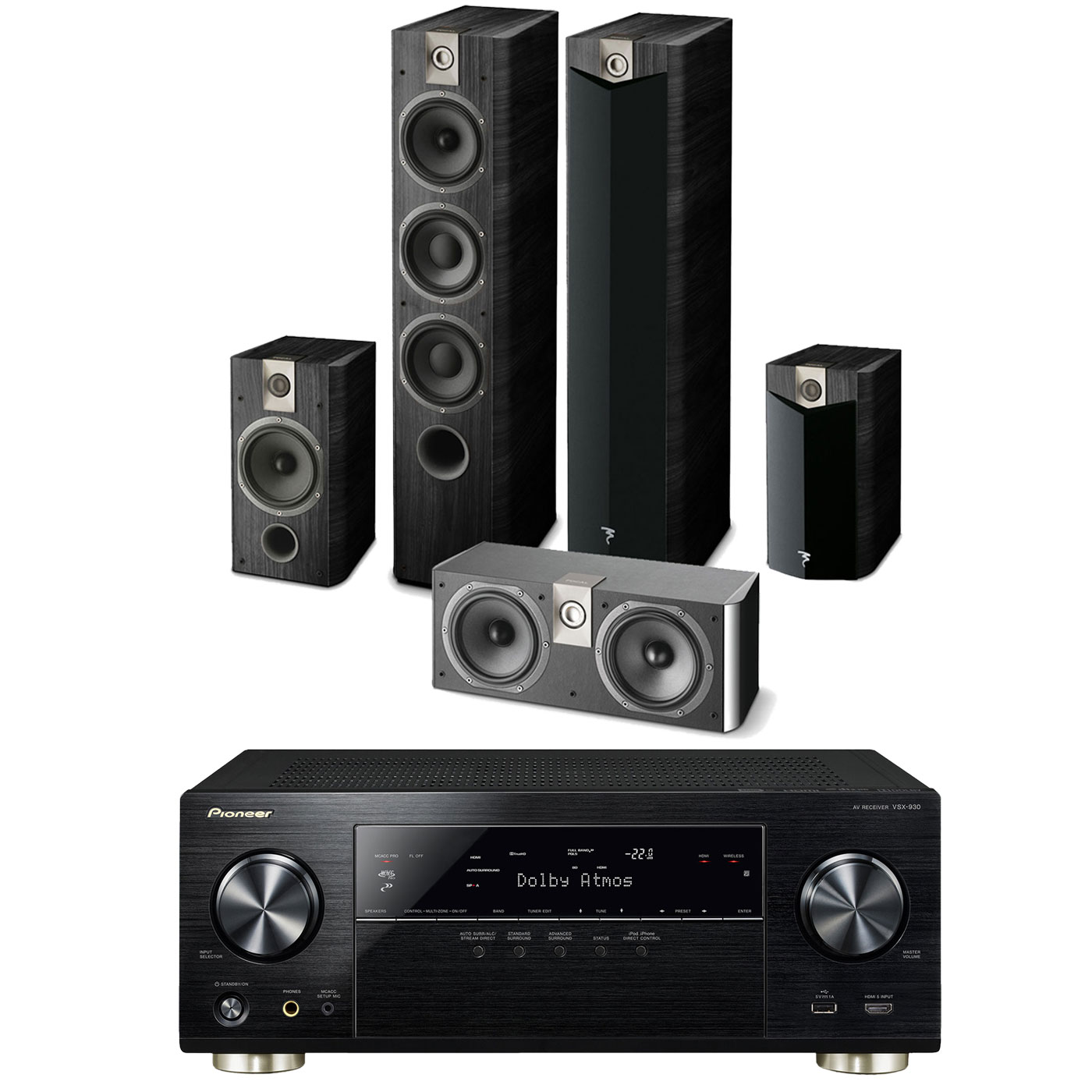 pioneer vsx 930 noir focal chorus 727 v2 706 v2 cc 700 ensemble home cin ma pioneer sur. Black Bedroom Furniture Sets. Home Design Ideas