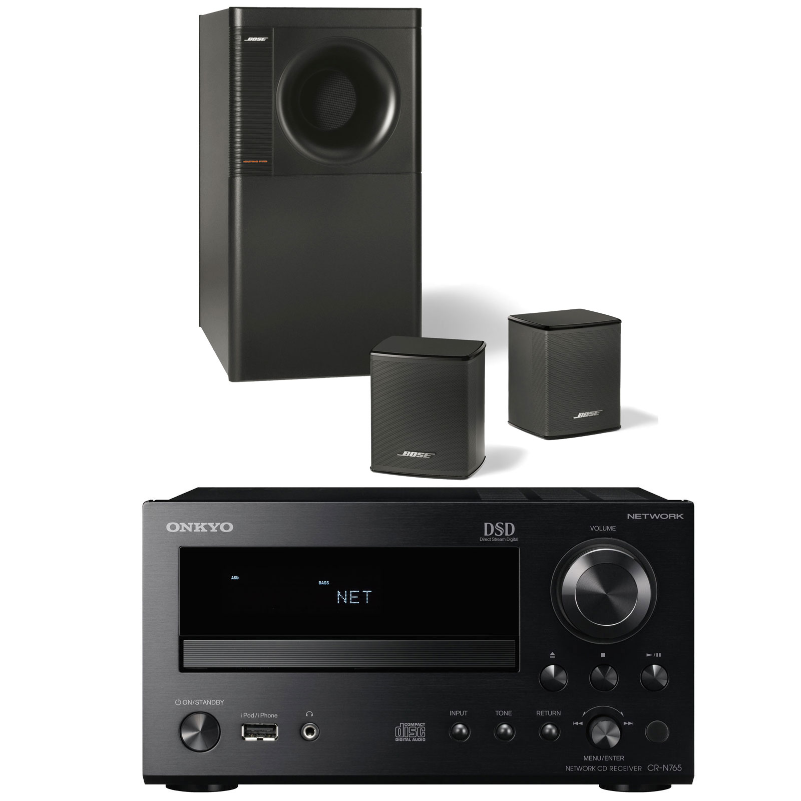 onkyo cr n765 noir bose acoustimass 3 series v noir. Black Bedroom Furniture Sets. Home Design Ideas