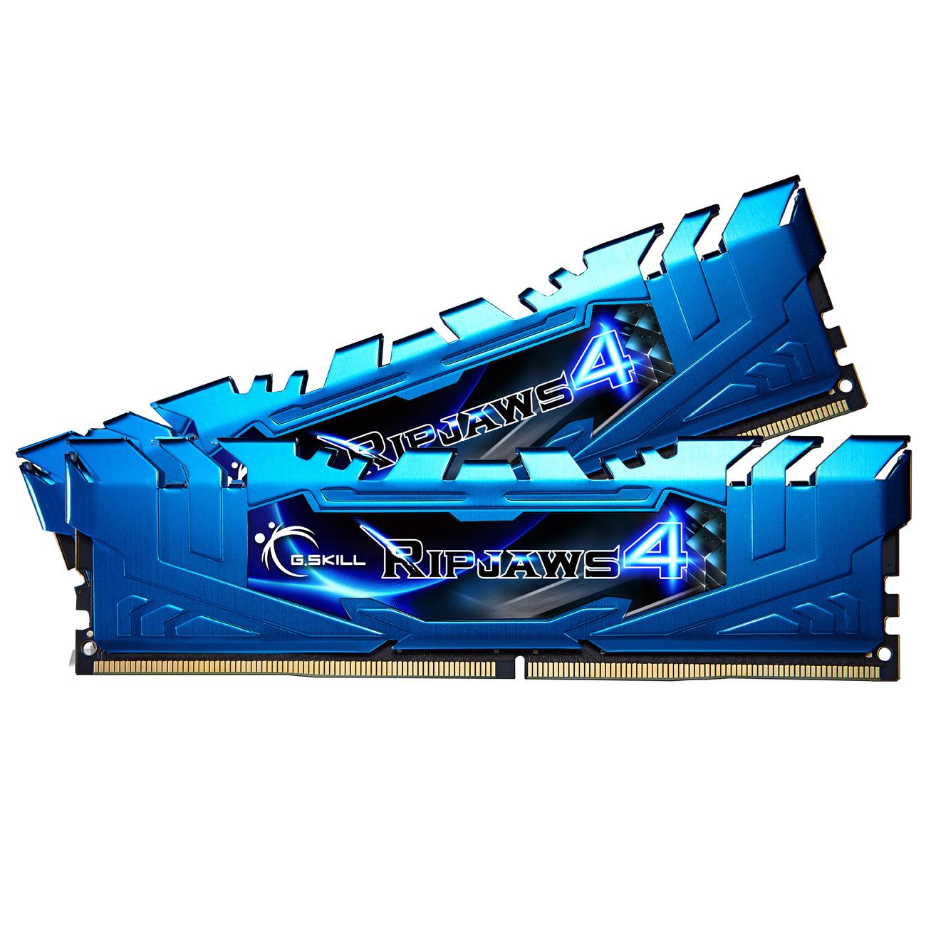 Mémoire PC G.Skill RipJaws 4 Series Bleu 16 Go (2x 8 Go) DDR4 3000 MHz CL15 Kit Dual Channel 2 barrettes de RAM DDR4 PC4-24000 - F4-3000C15D-16GRBB