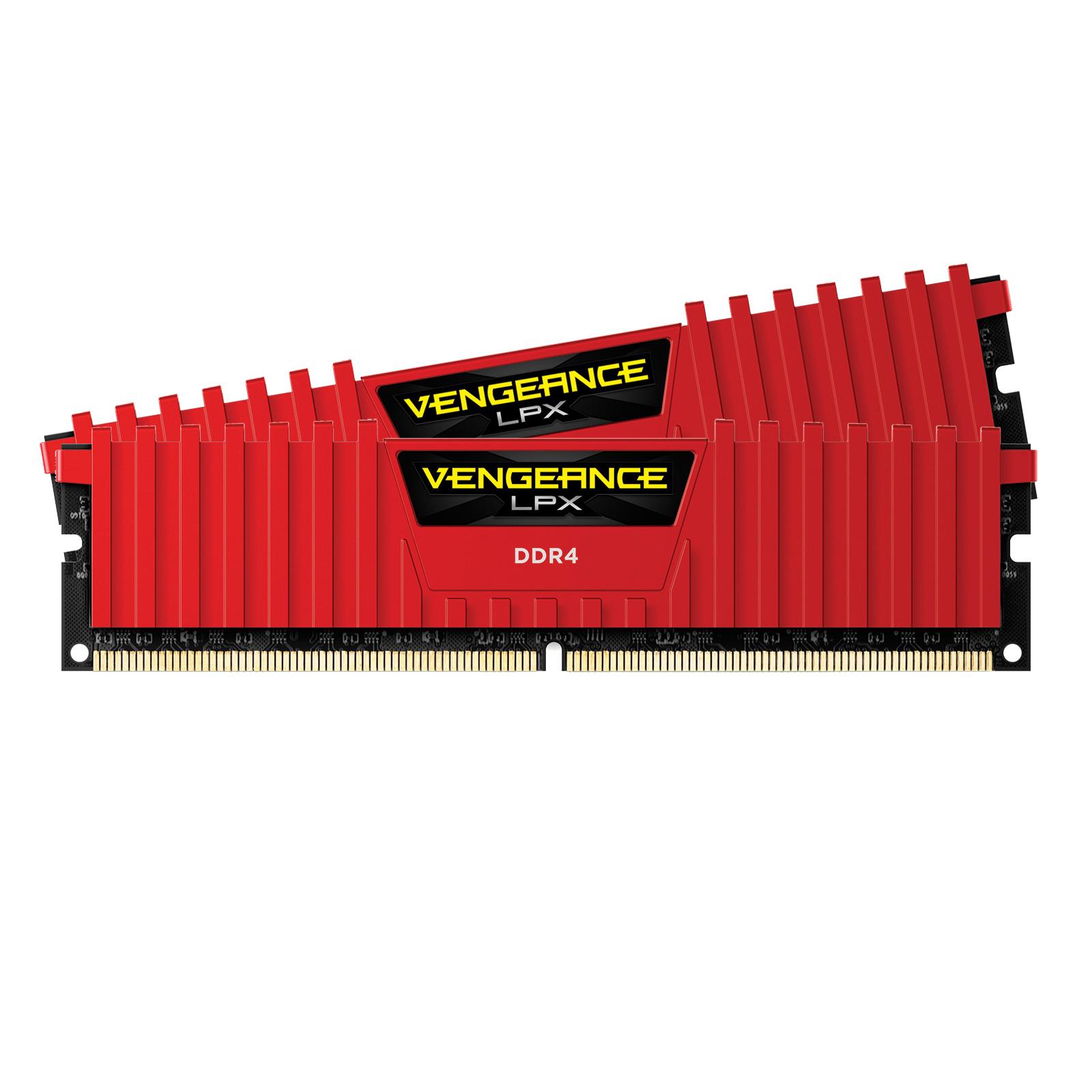 Mémoire PC Corsair Vengeance LPX Series Low Profile 16 Go (2x 8 Go) DDR4 3000 MHz CL15 Kit Quad Channel 2 barrettes de RAM DDR4 PC4-24000 - CMK16GX4M2B3000C15R (garantie à vie par Corsair)