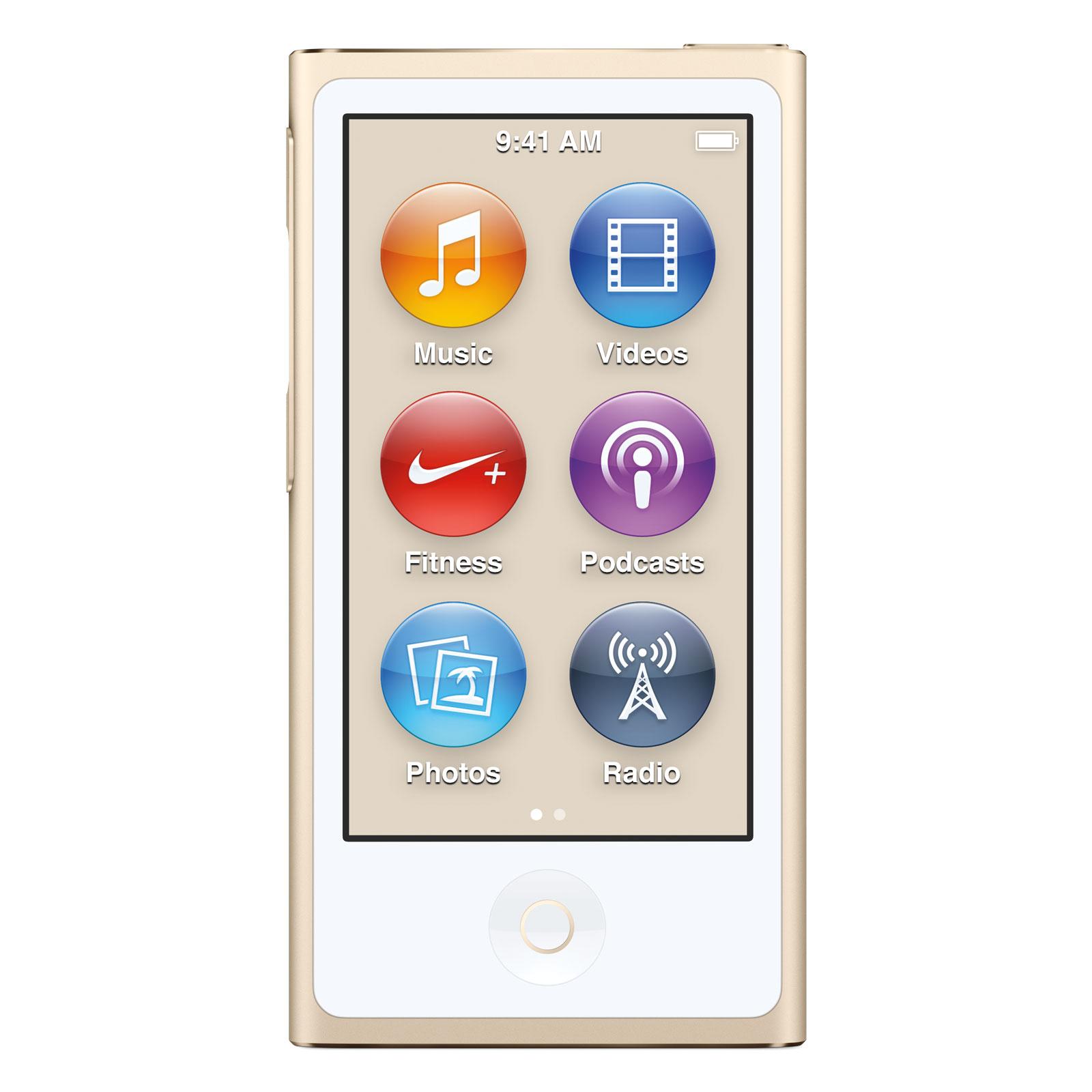"""Lecteur MP3 & iPod Apple iPod nano 16 Go Or (2015) Lecteur MP4 avec écran Multi-Touch 2.5"""", Bluetooth, Radio FM et Nike+"""