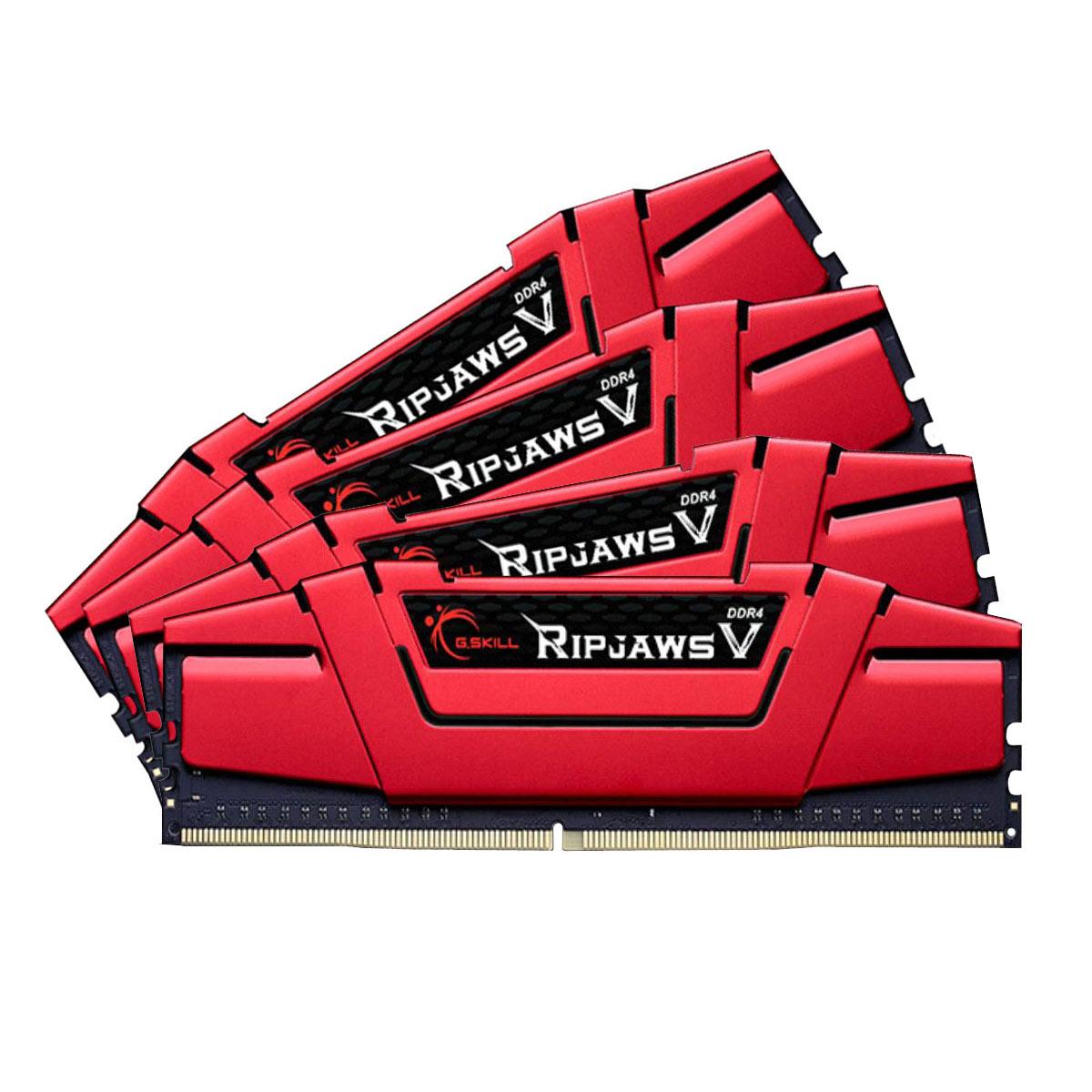 Mémoire PC G.Skill RipJaws 5 Series Rouge 16 Go (4x 4 Go) DDR4 2800 MHz CL15 Kit Quad Channel 4 barrettes de RAM DDR4 PC4-22400 - F4-2800C15Q-16GVRB (garantie 10 ans par G.Skill)
