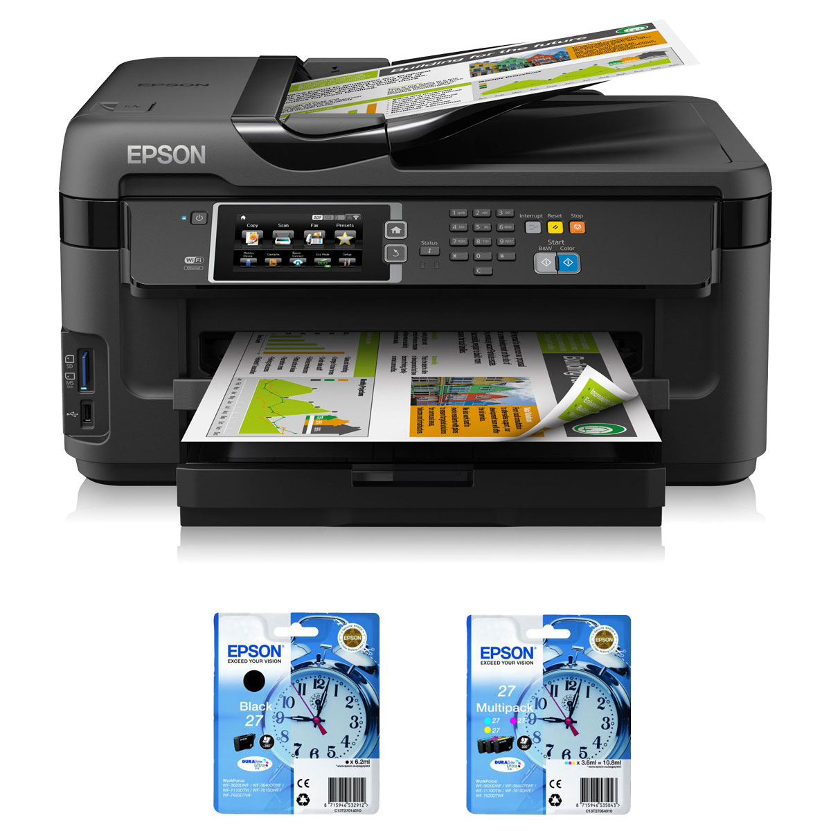 epson workforce wf 7610dwf t2701 27 multipack t2705 27 imprimante multifonction epson sur. Black Bedroom Furniture Sets. Home Design Ideas