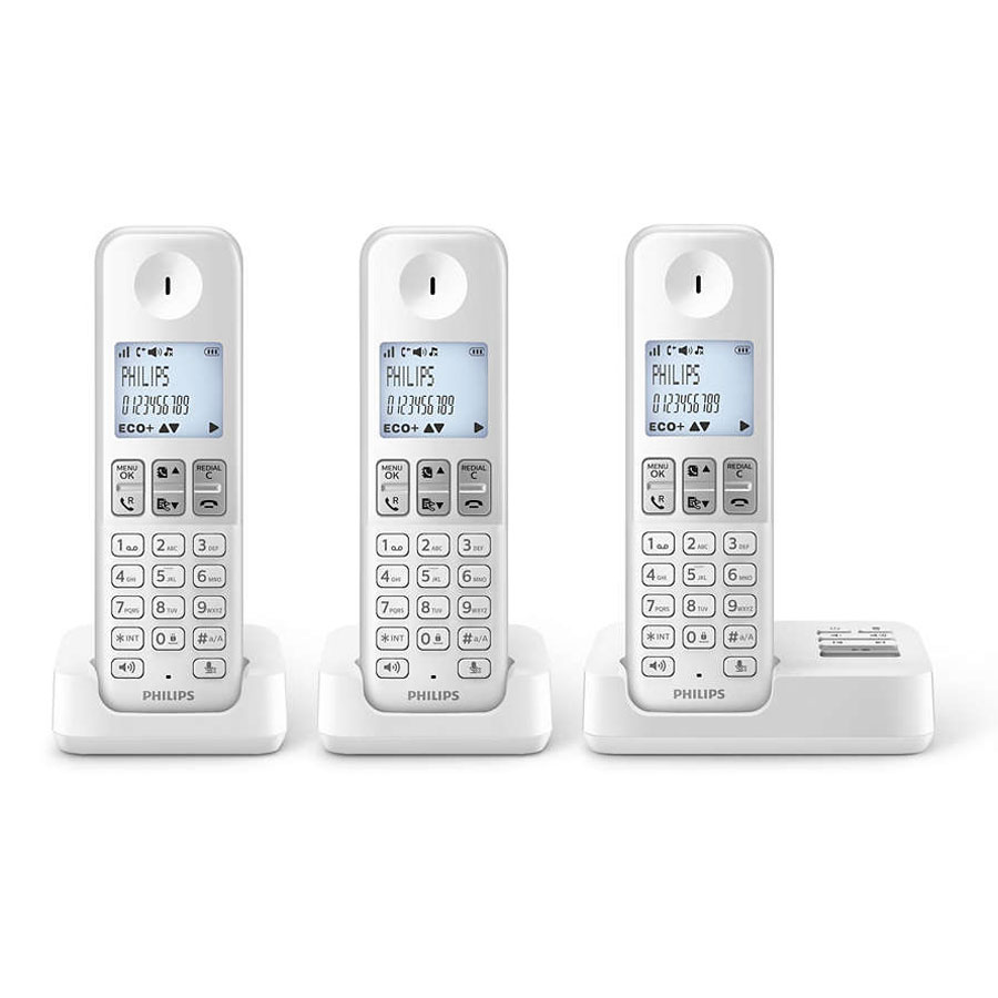 philips d2353w fr trio blanc t l phone sans fil philips sur. Black Bedroom Furniture Sets. Home Design Ideas