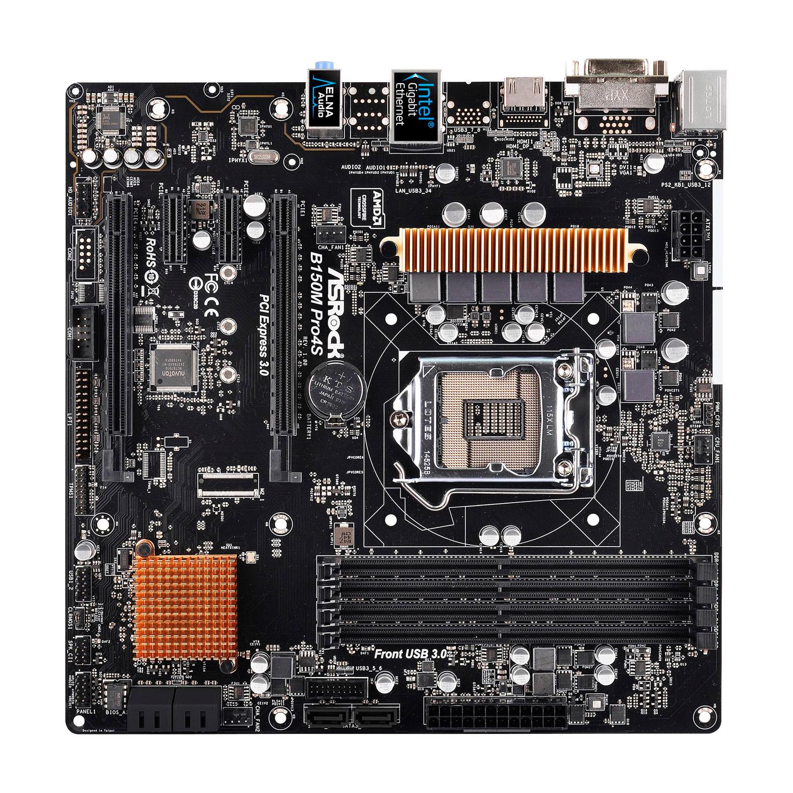 Carte mère ASRock B150M PRO4S Carte mère Micro ATX Socket 1151 Intel B150 Express - SATA 6Gb/s - USB 3.0 - 2x PCI-Express 3.0 16x