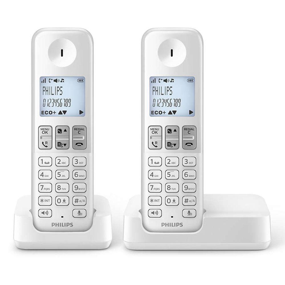 Téléphone sans fil Philips D2302W/FR Duo Blanc Téléphone (2 combinés) DECT sans fil (version française)