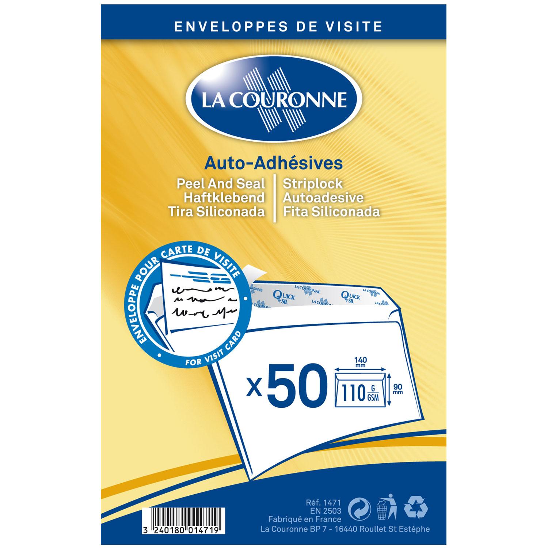 Enveloppe La Couronne Paquet De 50 Enveloppes 90 X 140 Mm Velin