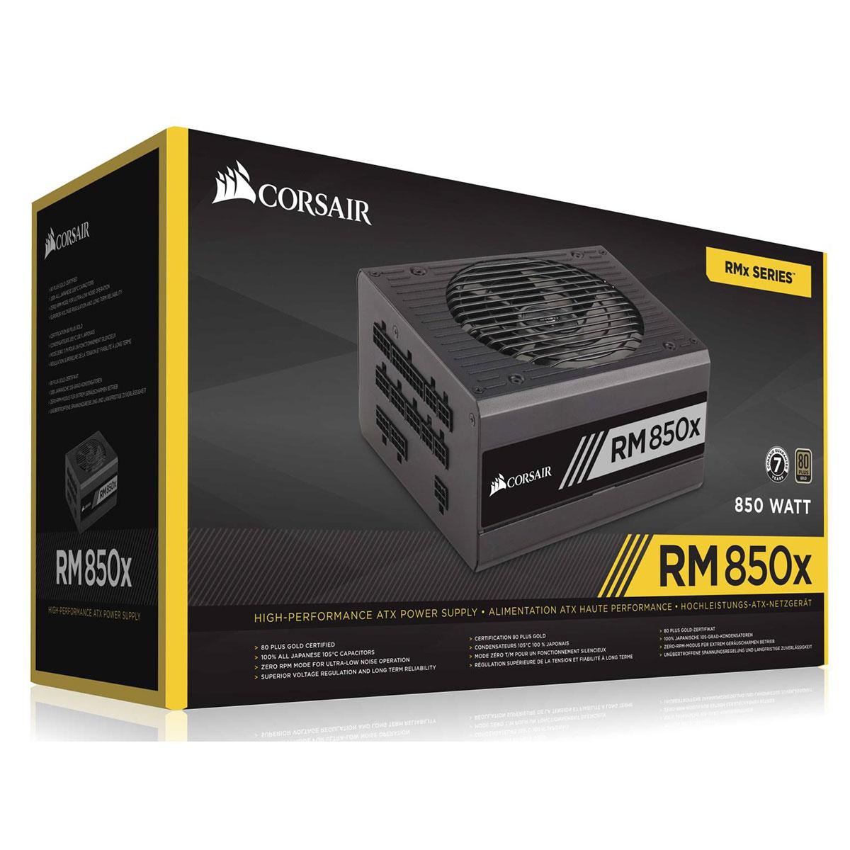 Alimentation PC Corsair RM850x 80PLUS Gold Alimentation modulaire 850W ATX 12V 2.4 / EPS 2.92 - 80PLUS Gold (Garantie 10 ans par Corsair)