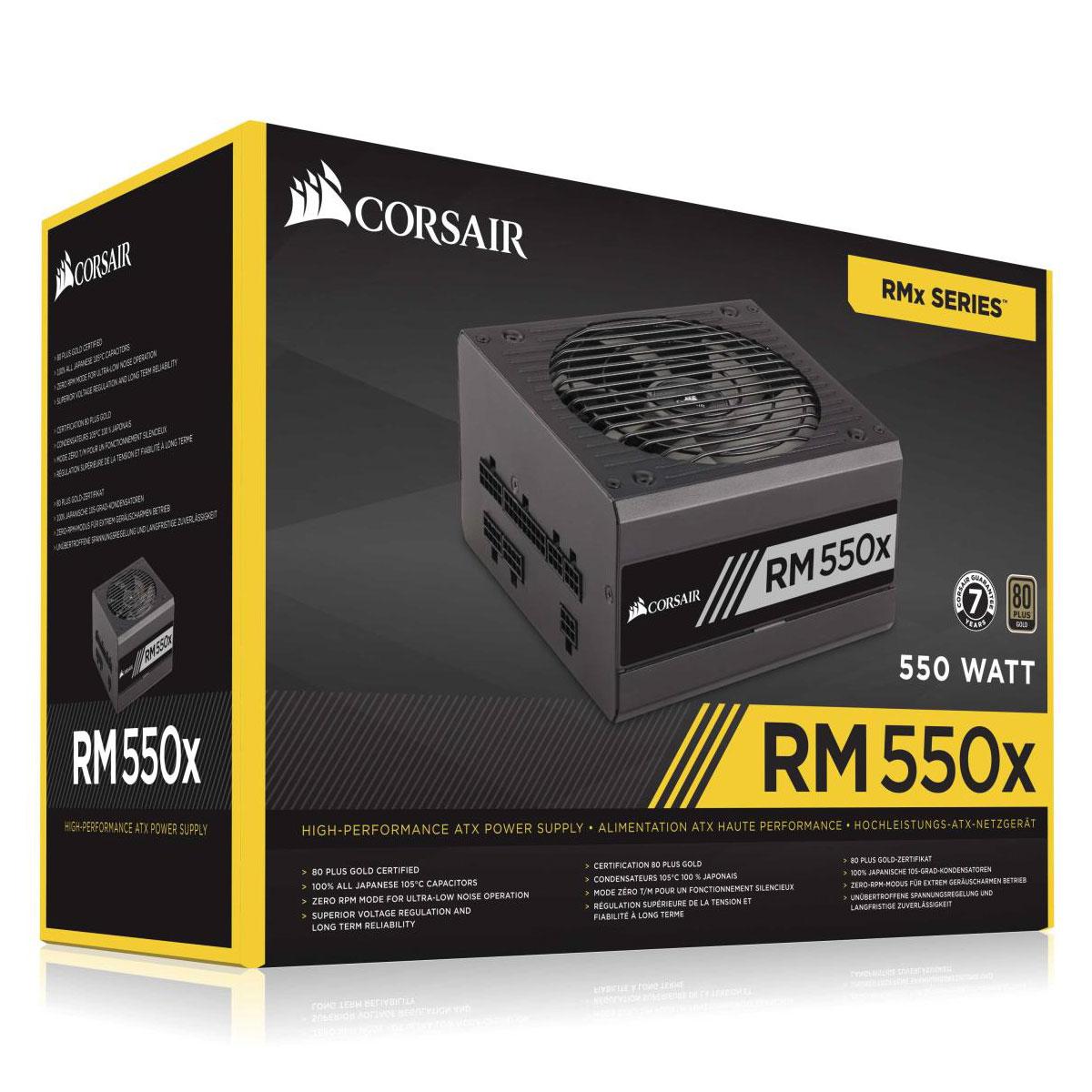 Alimentation PC Corsair RM550x V2 80PLUS Gold Alimentation modulaire 550W ATX 12V 2.4 / EPS 2.92 - 80PLUS Gold (Garantie 10 ans par Corsair)