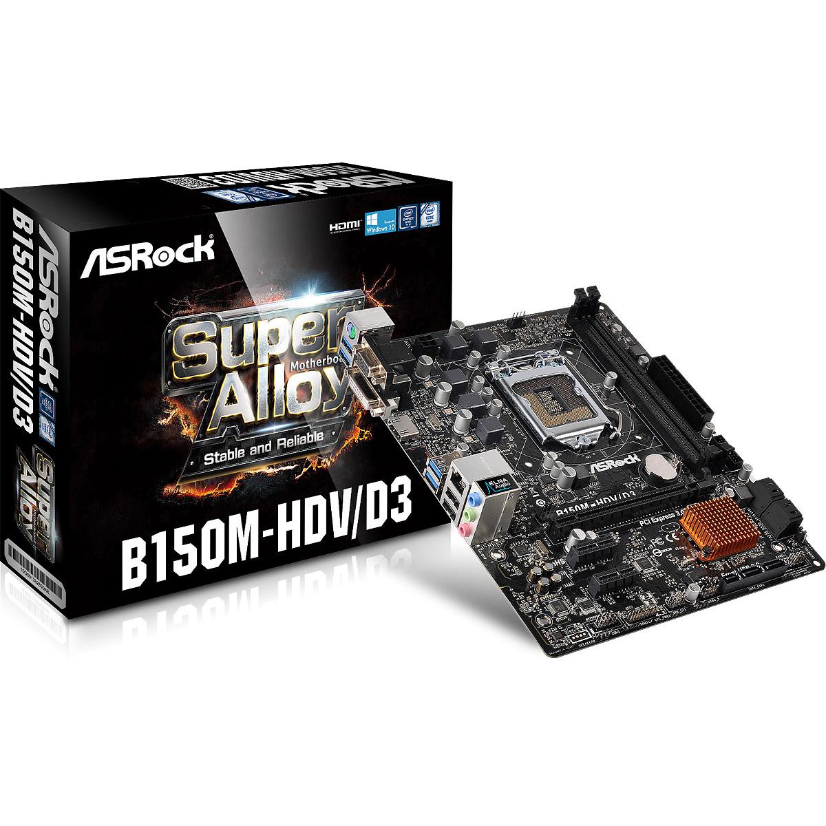 Carte mère ASRock B150M-HDV/D3 Carte mère Micro ATX Socket 1151 Intel B150 Express - SATA 6Gb/s - SATA Express - USB 3.0 - DDR3 - 1x PCI-Express 3.0 16x