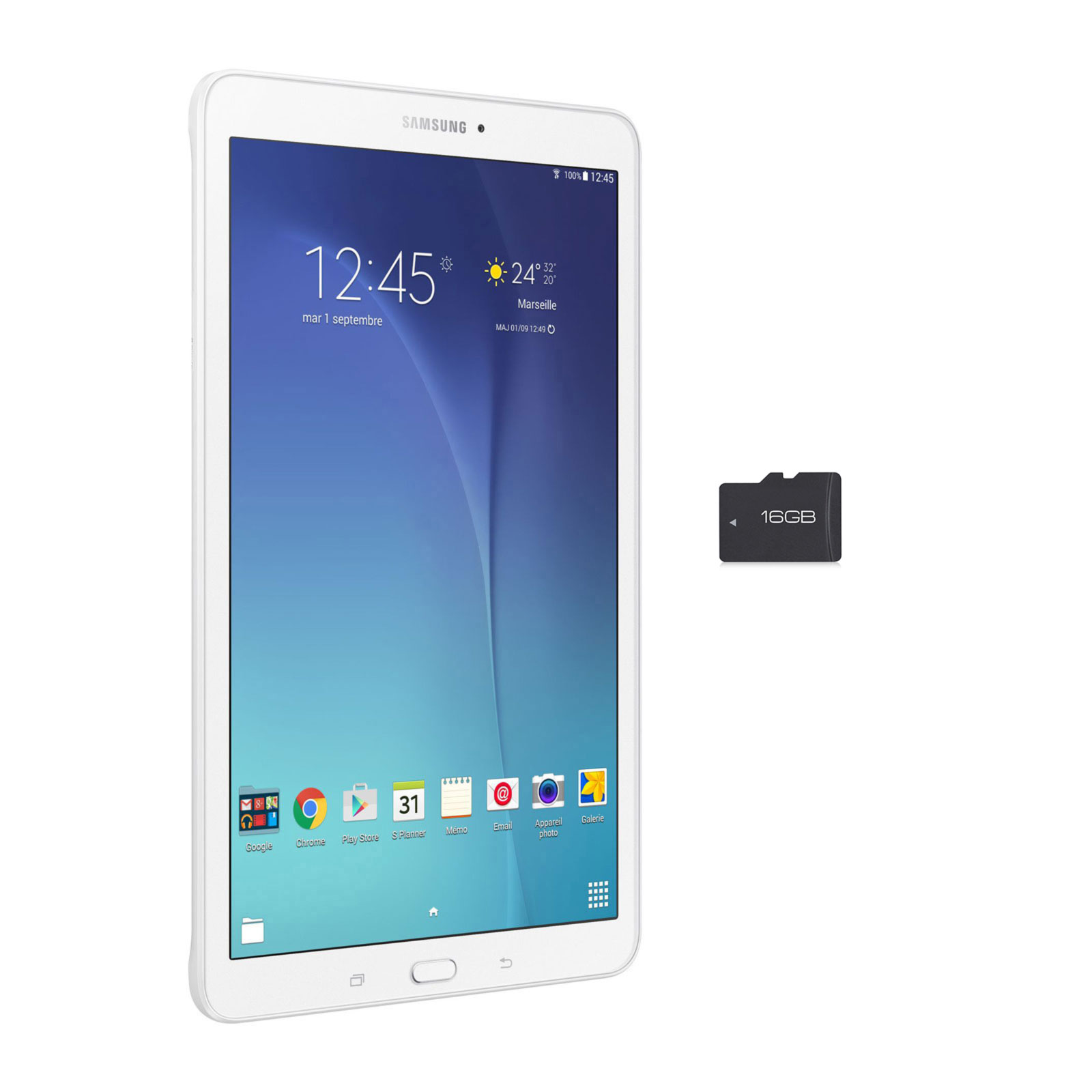 samsung galaxy tab e 9 6 sm t560 8 go blanc sdhc 16 go tablette tactile samsung sur. Black Bedroom Furniture Sets. Home Design Ideas