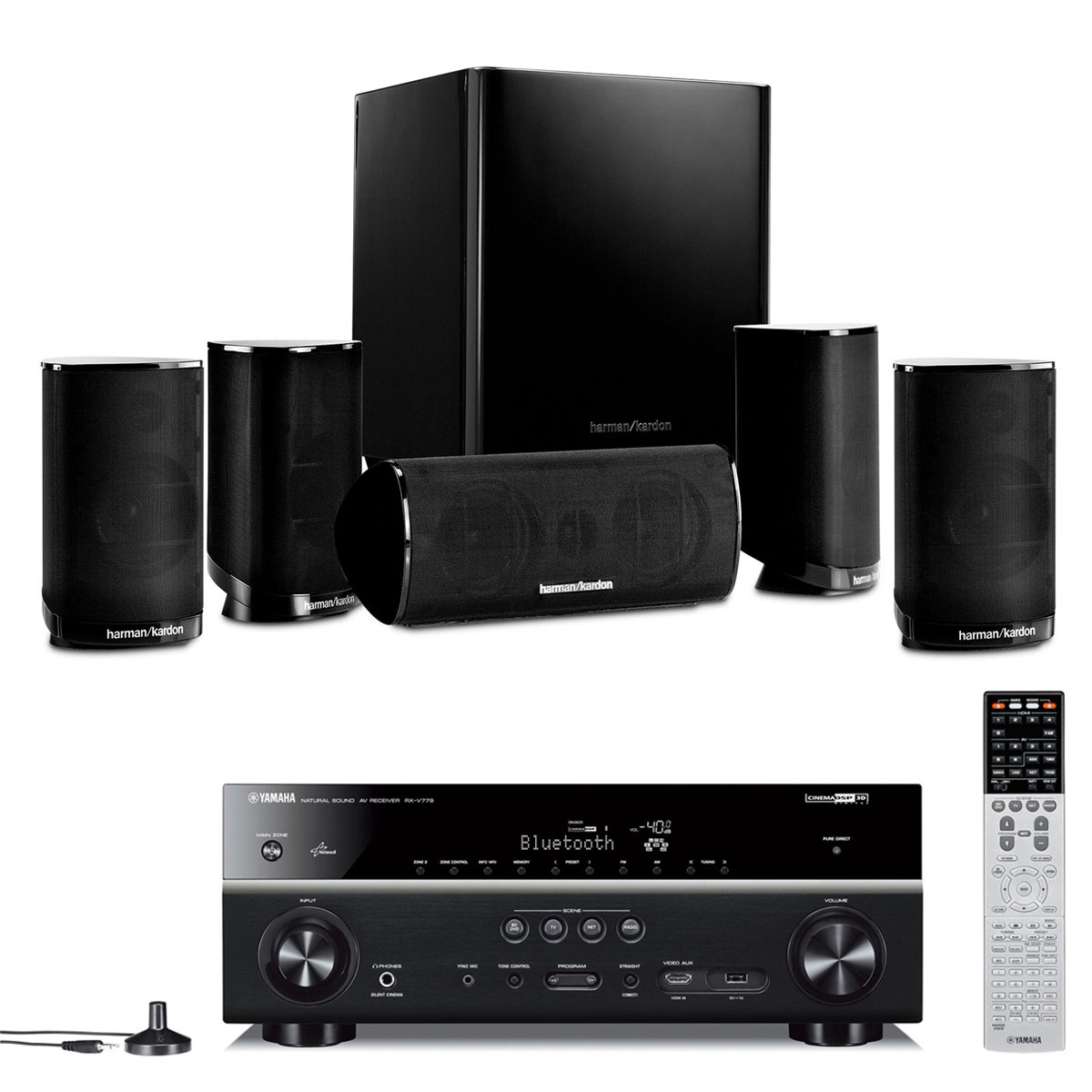 yamaha rx v779 noir harman kardon hkts 9 ensemble home. Black Bedroom Furniture Sets. Home Design Ideas