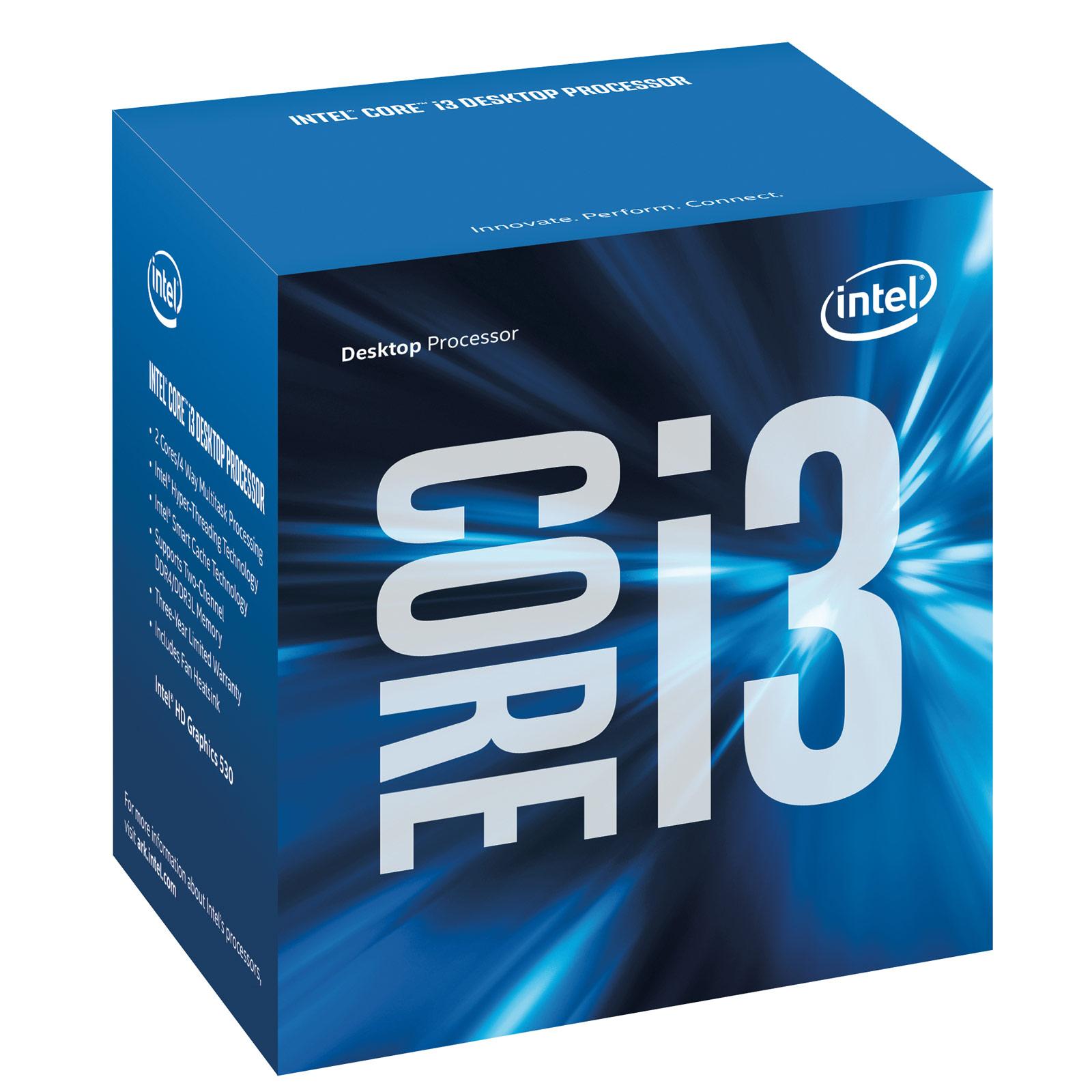 Processeur Intel Core i3-6100 (3.7 GHz) Processeur Dual Core Socket 1151 Cache L3 3 Mo Intel HD Graphics 530 0.014 micron (version boîte - garantie Intel 3 ans)