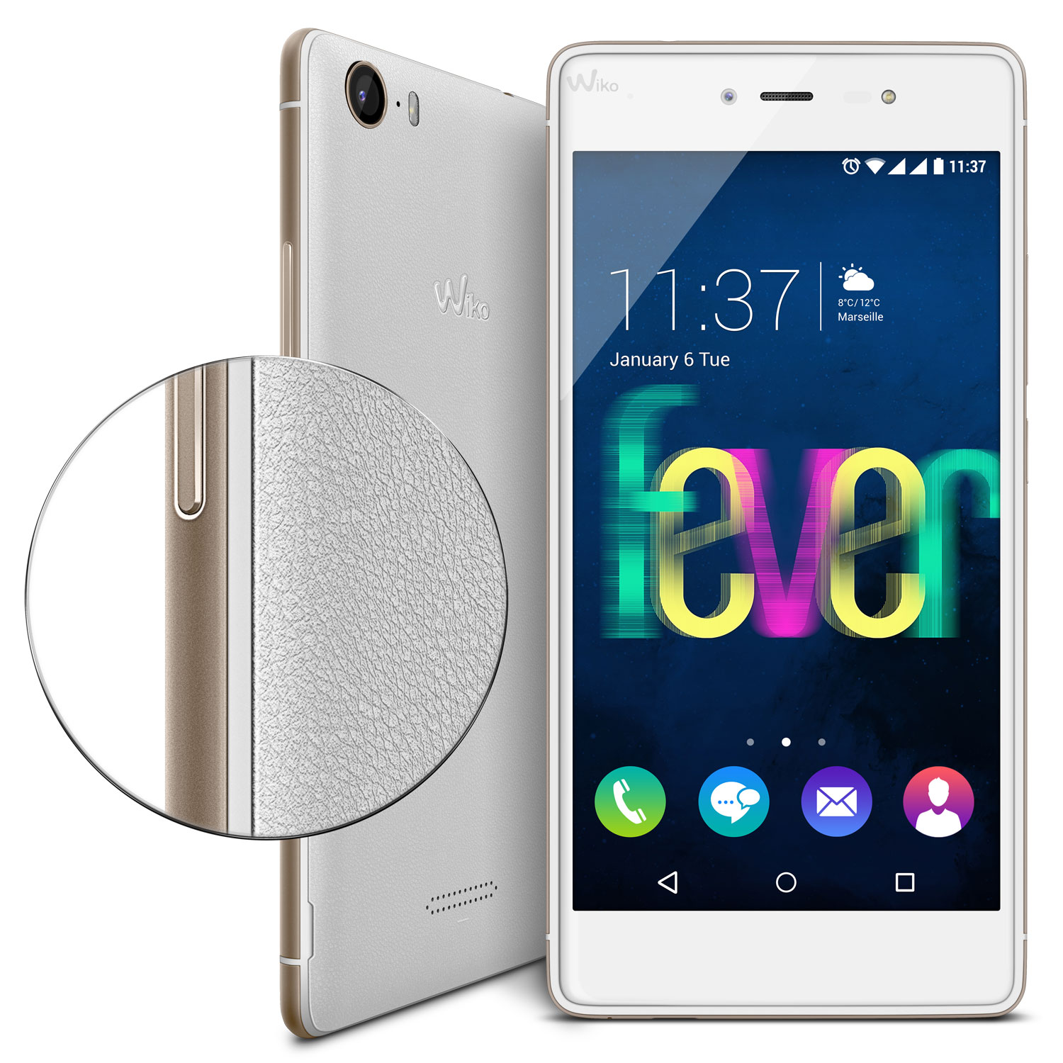 wiko fever 4g blanc or mobile smartphone wiko sur