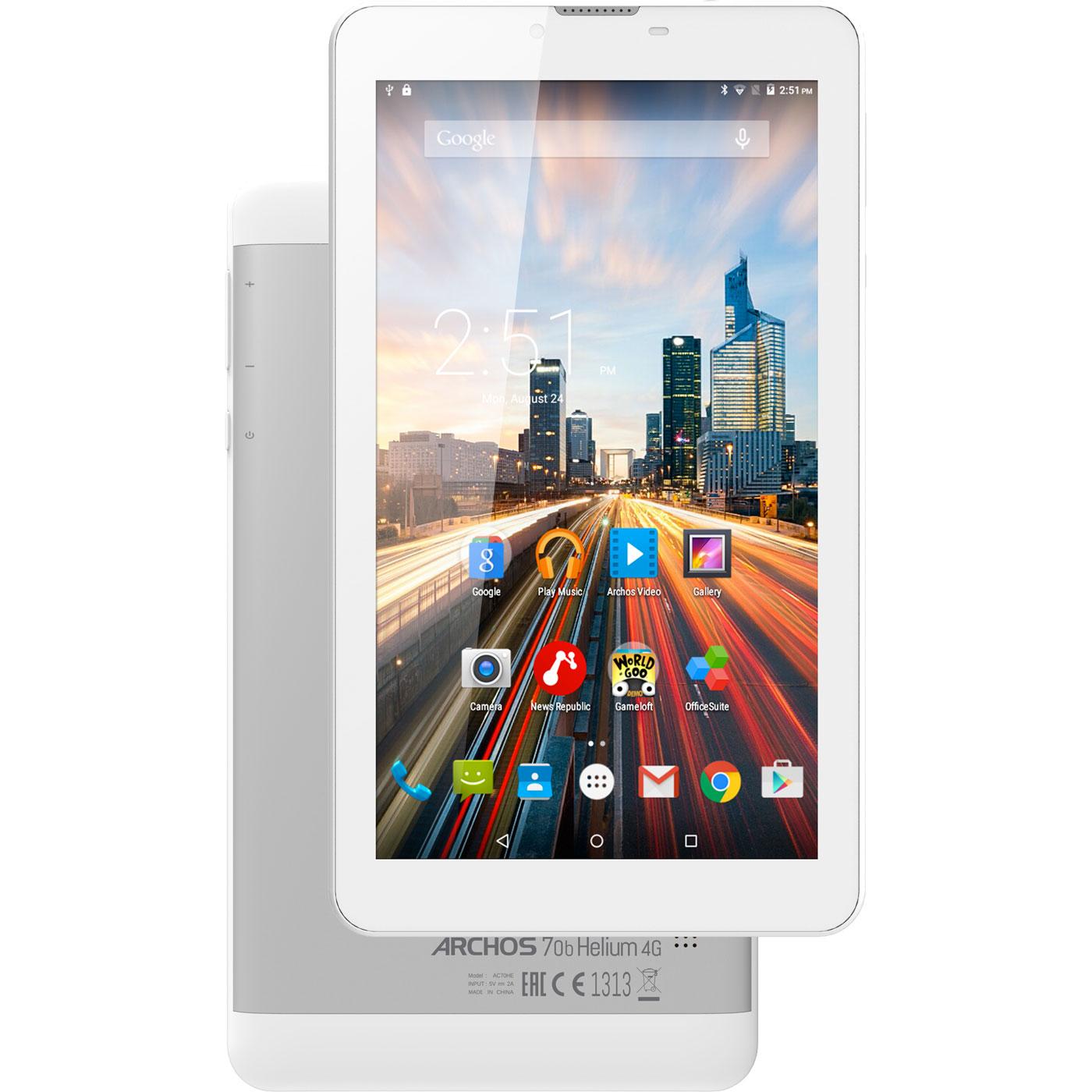"Tablette tactile Archos 70b Helium 8 Go Tablette Internet 4G-LTE Dual SIM - ARM Cortex A53 1 GHz 1 Go 8 Go 7"" LED tactile Wi-Fi/Bluetooth/Webcam Android 5.1"