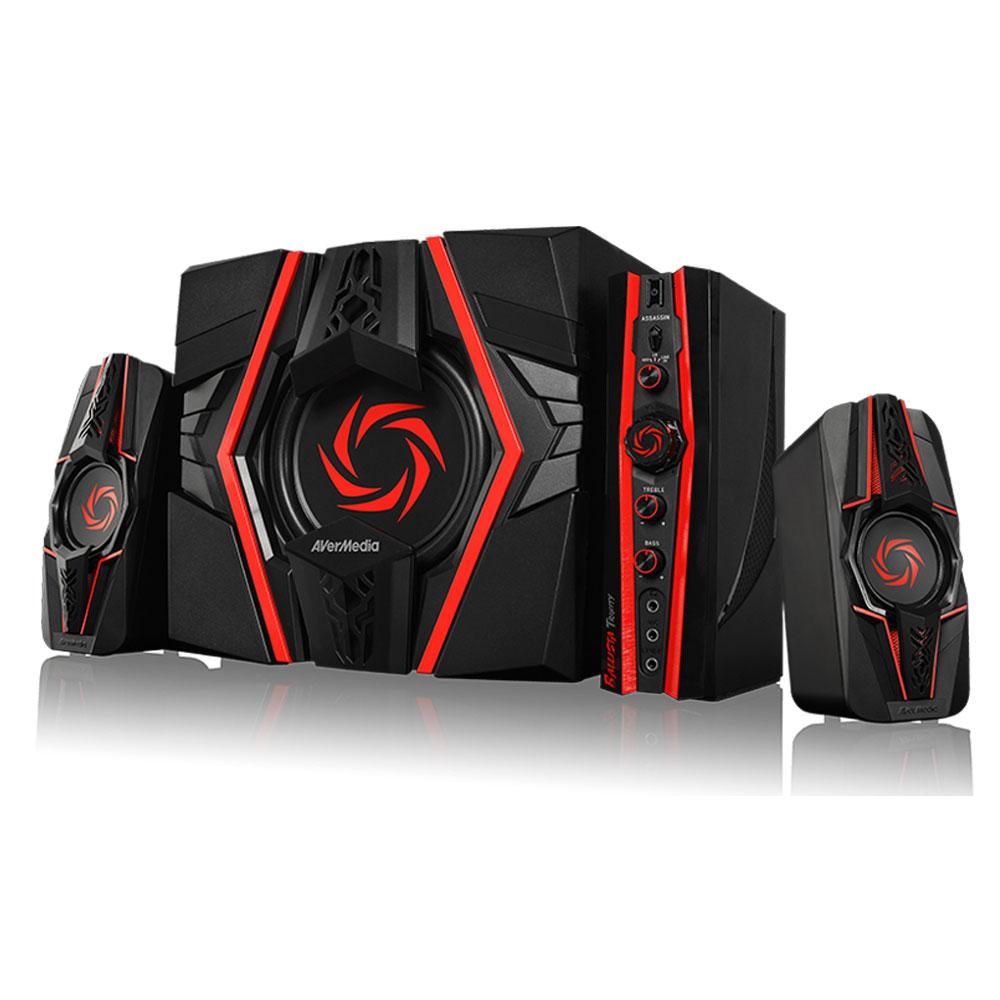 Enceinte PC AVerMedia Ballista Trinity Kit d'enceintes 2.1 (77 W) pour gamer avec panneau de contrôle (compatible PC, MAC, smartphones, tablettes, consoles...)