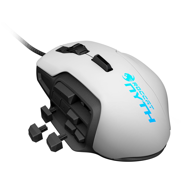 Souris PC ROCCAT Nyth (blanche) Souris filaire pour gamer - droitier - capteur laser 12000 dpi - 18 boutons programmables - rétroéclairage RGB - 100% modulaire