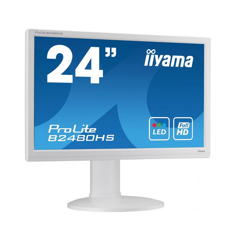 """Ecran PC iiyama 23.6"""" LED - ProLite B2480HS-W2 1920 x 1080 pixels - 2 ms - Format large 16/9 - HAS+Pivot - HDMI - Blanc"""