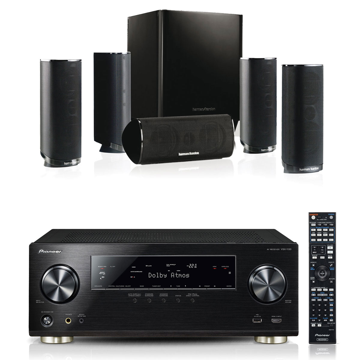 pioneer vsx 1130 k harman kardon hkts 16 ensemble home cin ma pioneer sur. Black Bedroom Furniture Sets. Home Design Ideas