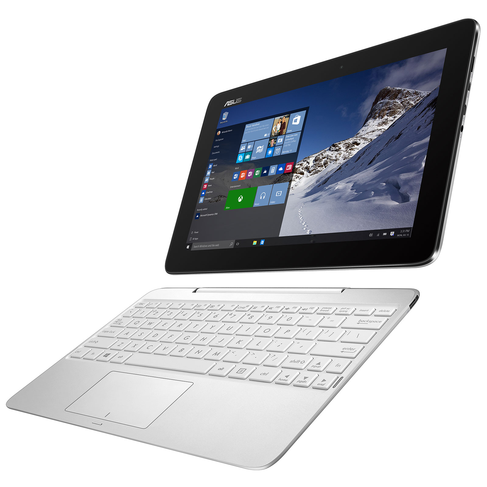 asus transformer book t100ha fu007t blanc pc portable asus sur. Black Bedroom Furniture Sets. Home Design Ideas